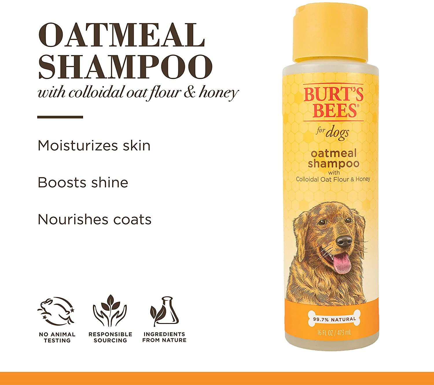Burt's Bees for Dogs Natural Oatmeal Shampoo for Dogs, Colloidal Oat Flour & Honey.
